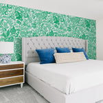 White background bright green flowers and Leaves elegant in bedroom wallpaper peel and stick removable