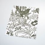 White background dark green flowers and Leaves elegant wallpaper peel and stick removable sample size