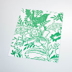 White background bright green flowers and Leaves elegant wallpaper peel and stick removable sample size