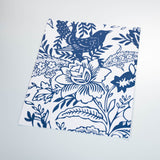 White background navy blue flowers and Leaves elegant wallpaper peel and stick removable sample size