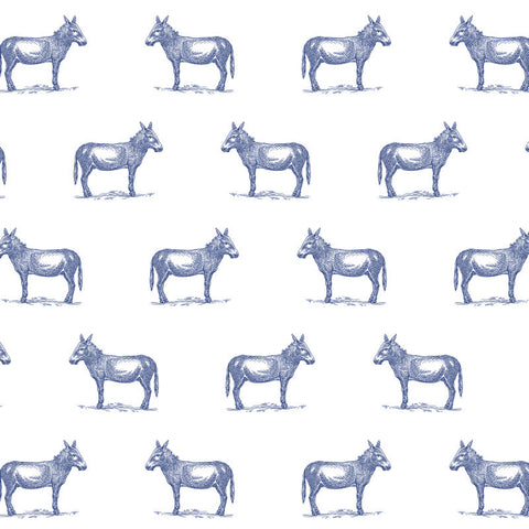 illustrated blue donkey on white background wallpaper pattern peel and stick