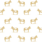 illustrated marigold yellow orange donkey on white background wallpaper pattern peel and stick