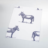 illustrated blue donkey on white background wallpaper pattern peel and stick sample size