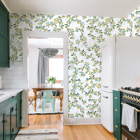 illustrated green leaves yellow lemon on white background wallpaper peel and stick pattern sample size