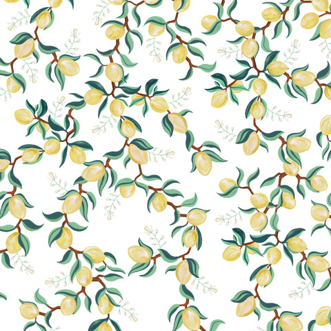 illustrated green leaves yellow lemon on white background wallpaper peel and stick pattern