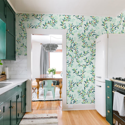 illustrated green leaves green lime on mint background wallpaper peel and stick pattern sample size