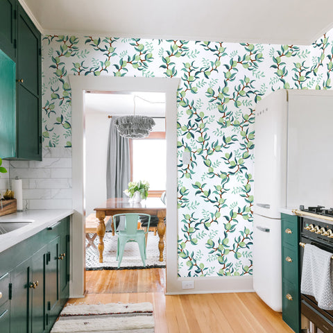 illustrated green leaves green lime on white background wallpaper peel and stick pattern sample size
