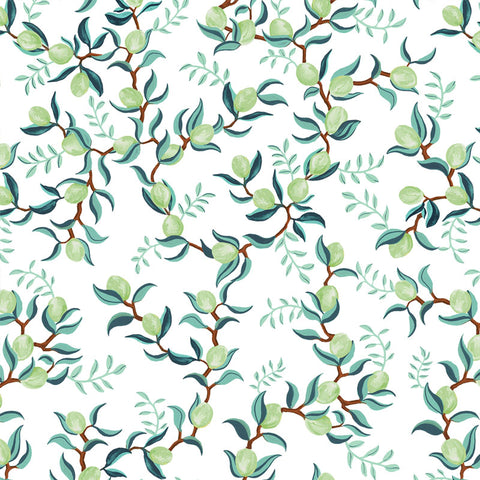 illustrated green leaves green lime on white background wallpaper peel and stick pattern