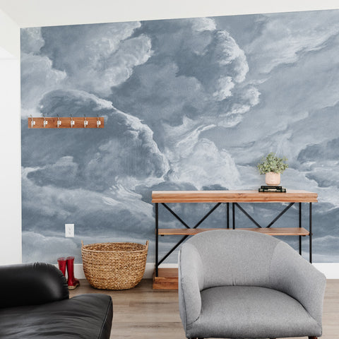 hand drawn light blue cloud mural illustration peel and stick wallpaper in room