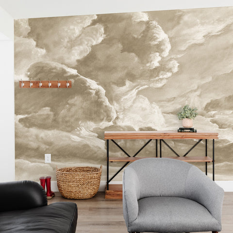 hand drawn sepia brown cloud mural illustration peel and stick wallpaper in room
