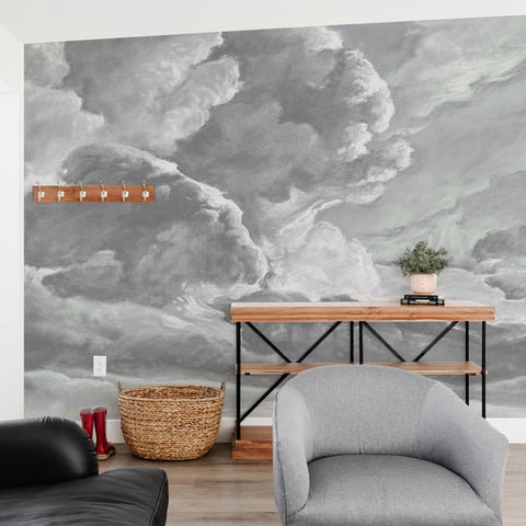 hand drawn storm grey cloud mural illustration peel and stick wallpaper in room