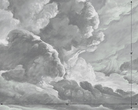 hand drawn storm grey cloud mural illustration peel and stick wallpaper 14x10