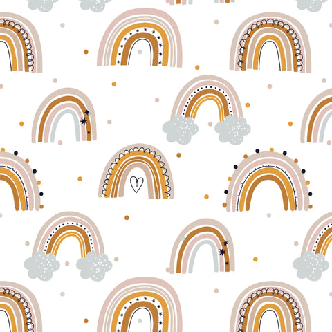 Rainbows Clouds Dots Removable Peel and Stick Wallpaper