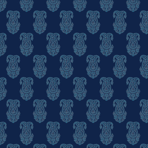 white elegant design pattern on dark navy blue background Removable Peel and Stick Wallpaper