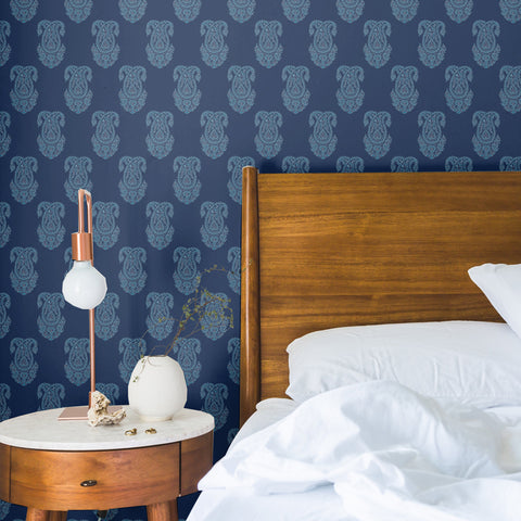 white elegant design pattern on dark navy blue background Removable Peel and Stick Wallpaper sample size