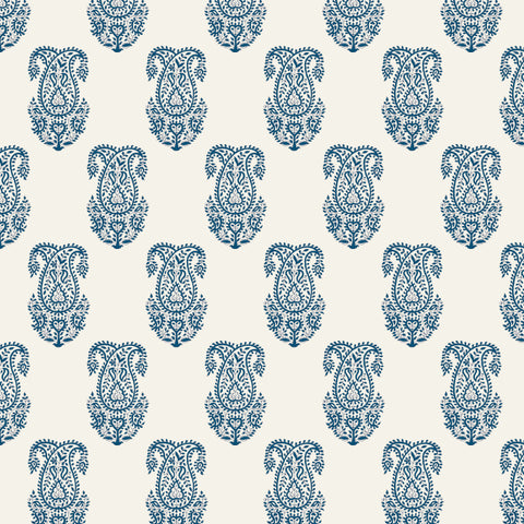 indigo blue elegant design pattern on white background Removable Peel and Stick Wallpaper