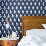 Navy Blue White Flower Peel and Stick Removable Wallpaper