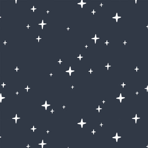 white star design pattern on dark navy blue background Removable Peel and Stick Wallpaper