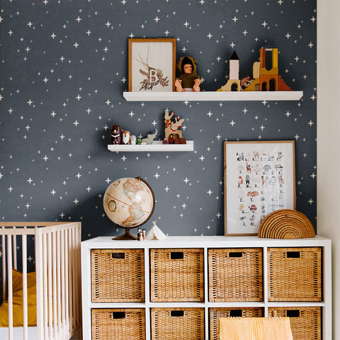 white star design pattern on dark navy blue background Removable Peel and Stick Wallpaper sample size