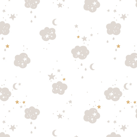 illustrated grey clouds and yellow stars pattern on white background Removable Peel and Stick Wallpaper
