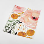 watercolor pink black and yellow rose flower pattern on white background Removable Peel and Stick Wallpaper sample size