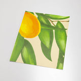 illustrated green leaves white flowers and orange citrus on tan background wallpaper peel and stick pattern sample size