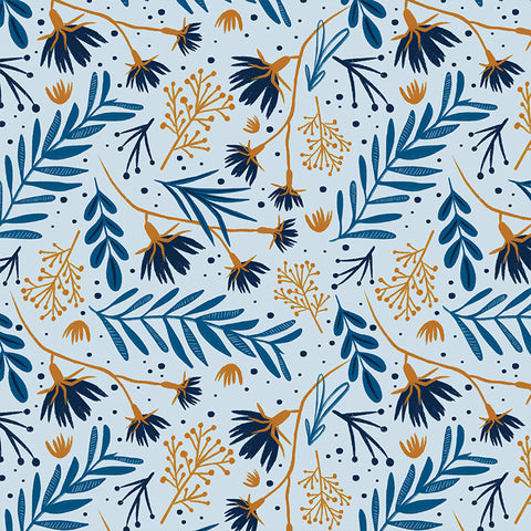 blue and orange leaves and flowers pattern on light blue background Removable Peel and Stick Wallpaper