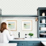 light green blue clamshell sea shell design pattern on white background Removable Peel and Stick Wallpaper in kitchen