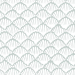 light green blue clamshell sea shell design pattern on white background Removable Peel and Stick Wallpaper