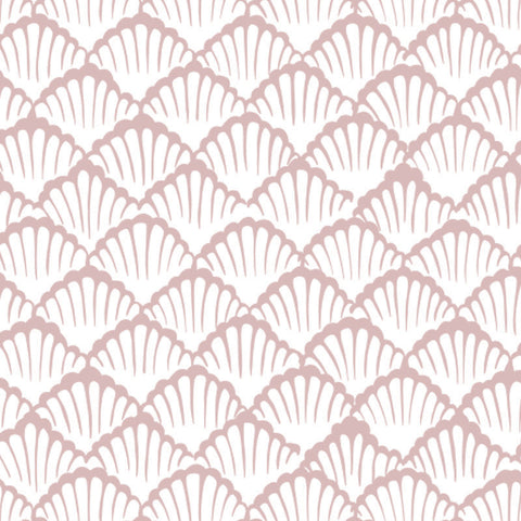pink clamshell design pattern on white background Removable Peel and Stick Wallpaper