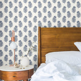 King Pretoria Navy Blue White Flower Peel and Stick Removable Wallpaper