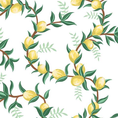illustrated green leaves yellow lemon and brown branches on white background wallpaper peel and stick pattern