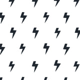 cartoon style black lightning design on white background wallpaper peel and stick pattern