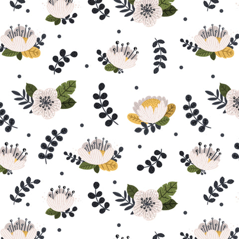 illustrated green white and yellow flowers design on white background wallpaper peel and stick pattern