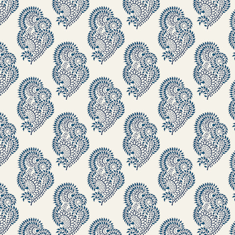 white and blue elegant vine design pattern on white background Removable Peel and Stick Wallpaper