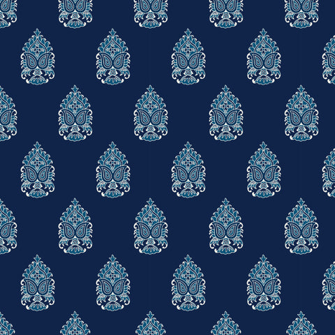 white and blue elegant floral design pattern on dark indigo blue background Removable Peel and Stick Wallpaper