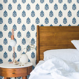 white and blue elegant floral design pattern on white background Removable Peel and Stick Wallpaper in bedroom