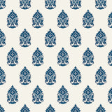 white and blue elegant floral design pattern on white background Removable Peel and Stick Wallpaper