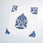 white and blue elegant floral design pattern on white background Removable Peel and Stick Wallpaper sample size