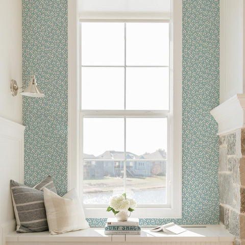 white and blue floral design pattern on light blue background Removable Peel and Stick Wallpaper in room