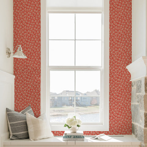 white and black floral design pattern on red background Removable Peel and Stick Wallpaper in room
