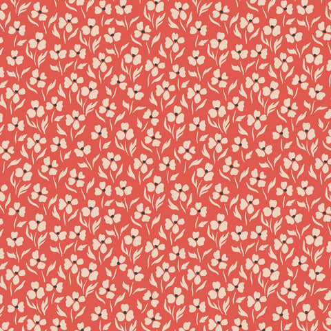 white and black floral design pattern on red background Removable Peel and Stick Wallpaper