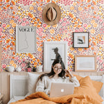 orange yellow pink and brown meadow design pattern on off white background Removable Peel and Stick Wallpaper in bedroom