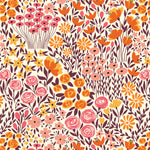 orange yellow pink and brown meadow design pattern on off white background Removable Peel and Stick Wallpaper