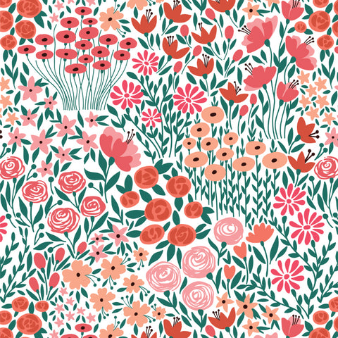 red pink and green meadow design pattern on white background Removable Peel and Stick Wallpaper