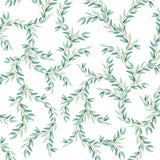 green and blue vine design pattern on white background Removable Peel and Stick Wallpaper