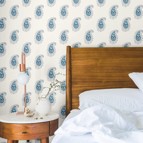 blue and black outlined elegant abstract floral design pattern on white background Removable Peel and Stick Wallpaper in bedroom sample size