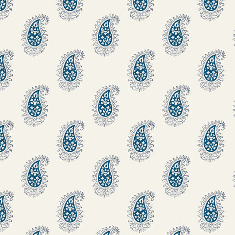 blue and black outlined elegant abstract floral design pattern on white background Removable Peel and Stick Wallpaper