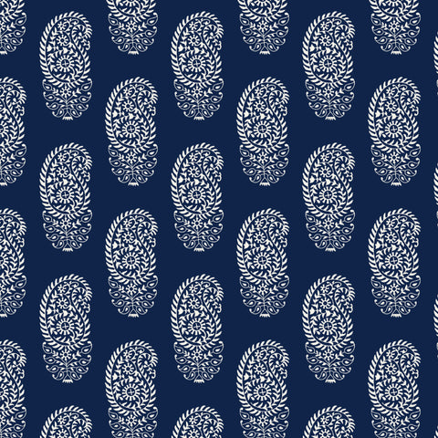 white elegant abstract floral design pattern on dark indigo blue background Removable Peel and Stick Wallpaper