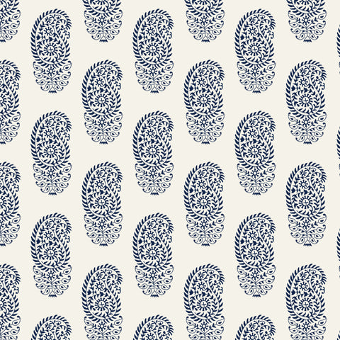 dark indigo blue elegant abstract floral design pattern on white background Removable Peel and Stick Wallpaper